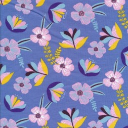 Økologisk Bomuldsjersey i grå blå-lavendel med blomster-20