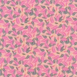 Bomuld/lycra økotex med blad print i laks, lyserød og grå-grøn-20