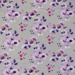 Bomuld/elasthan i digitalprint i pudder-beige med blomster-20