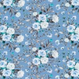 Afklip Bomuld/lycra økotex m/digitalt tryk i lyseblå med blomster 40x60 cm.-20