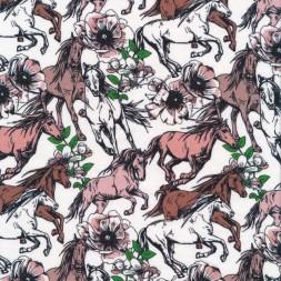 Bomuld/lycra økotex i hvid med heste og blomster-20