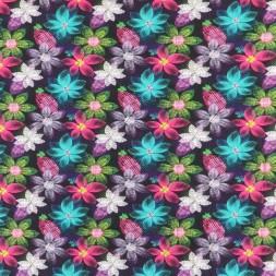 Afklip Bomuld/lycra m/digitalt tryk med multifarvede blomster 40x60 cm.-20