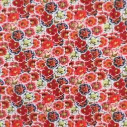 Bomuld/lycra økotex m/digitalt tryk med blomster i rød blå hvid-20