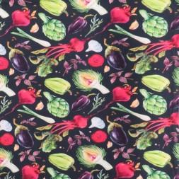 Bomuldsjersey økotex m/digitalt tryk i sort med grøntsager-20