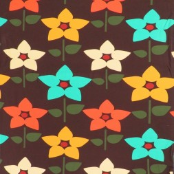 Bomuldsjersey økotex m/digitalt tryk i brun med retro blomster-20