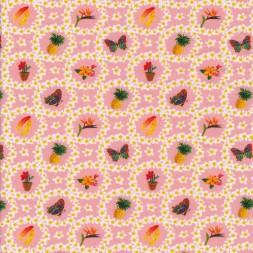 Bomuld/lycra økotex i lyserød med blomster i cirkel med motiver-20