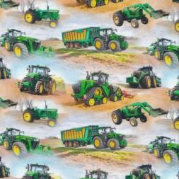 Afklip Bomuld/lycra økotex m/digitalt tryk, med traktor i lyseblå og grøn 40x60 cm.-20
