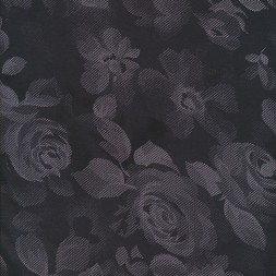 Rest polyester-jersey med roser i sort og grå-lilla 75 cm.-20
