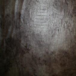 Pudder-brun læder-look med dyreprint og let stræk-20