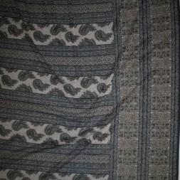Mesh med sjalsmønster og stribe mønster sort brun grå-20