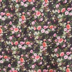 Polyester med digitale blomster i mørkebrun og lyserød-20