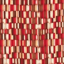 Rest Polyester med aflange firkanter i rød brun hvid 100 cm.-20