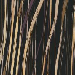 Rest Polyester med uens striber i sort, grå, army og lysegul, 100 cm.-20