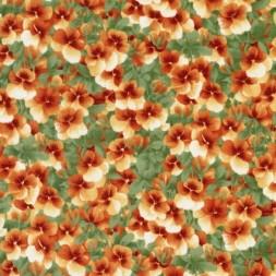 Afklip Patchwork stof med stedmoderblomster i grøn og orange 50x55 cm.-20