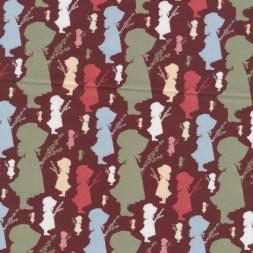 Afklip Patchwork stof Holly Hobbie country i brun, grøn og koral-20