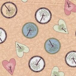 Afklip Patchwork stof Holly Hobbie country beige med hjerte 50x55 cm.-20