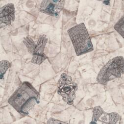 Patchwork stof i off-white grå-brun med hansker taske kikkert-20