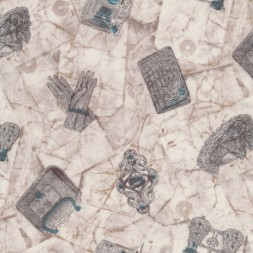 Afklip Patchwork stof i off-white og grå-brun og med handsker og-20