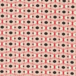 Patchwork stof med kubemønster, off-white, rød og brun-20