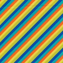 Patchwork stof med skrå striber i kobolt, orange og gul-20