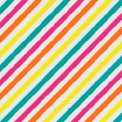 Patchwork stof med skrå striber, hvid, orange og grøn-20