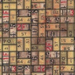 Afklip Patchwork stof af Tim Holtz med tommestok i brun og beige-20