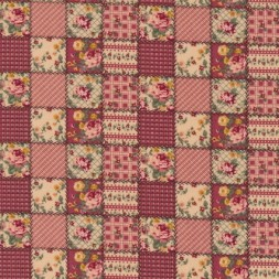 Patchwork ternet lapper stof i rosa og beige-20