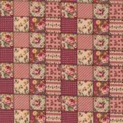 Afklip Patchwork ternet lapper stof i rosa og beige 50x55 cm.-20