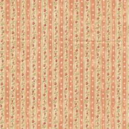 Patchwork stribet stof med blomster laks og sandfarvet-20