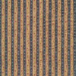 Patchwork stribet stof med blomster i støvet blå og beige-20