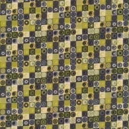 Afklip Patchwork stof med firkanter i grå, lime og petrol 50x55 cm.-20
