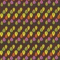 Patchwork stof i brun med blade-20