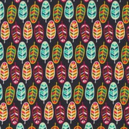 Patchwork bommuldsstof med fjer i mørkebrun, aqua og rød-20