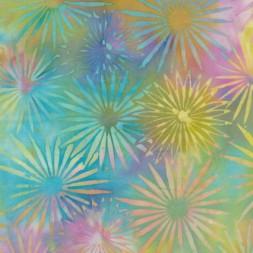 Afklip Patchworkstof Island batik med blomster i turkis, lyserød og lilla 50x55 cm.-20