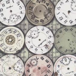Afklip Patchwork stof af Tim Holtz med ure i støvet grøn grå-brun hvid 50x55 cm.-20