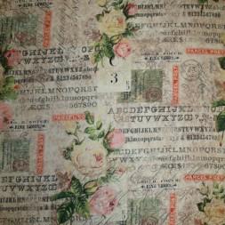 Afklip Patchwork stof af Tim Holtz med roser tekst 50x55 cm.-20