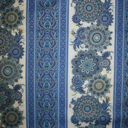 Afklip Patchwork stofmetervare Royalty med striber/mønster blå/guld/offwhite 50x55 cm.-20