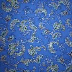 Afklip Patchwork stof Royalty med blomst mønster i blå og guld 50x55 cm.-20