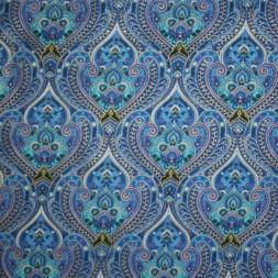 Afklip Patchwork stof Royalty med mønster blå, guld og aqua 50x55 cm.-20