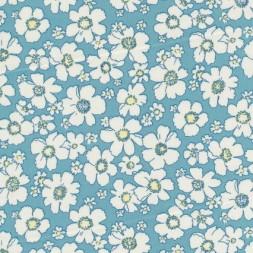 Bomulds-poplin m/blomster, lys turkis/hvid/lysegul-20