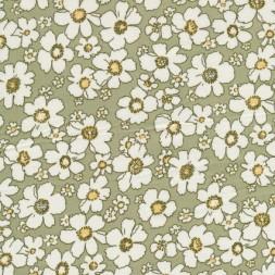 Bomulds-poplin m/blomster, lys oliven/hvid/lysegul-20