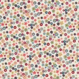 Patchwork stof knækket hvid m/små multifarvede blomster-20