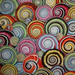 Afklip Patchwork stof af Kaffe Fassett med sneglhus multifarvet 50x55 cm.-20