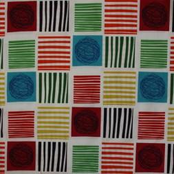 Patchwork stof i grøn, rød og carry med firkanter-20
