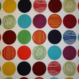 Patchwork stof i grøn, rød og carry med cirkler-20