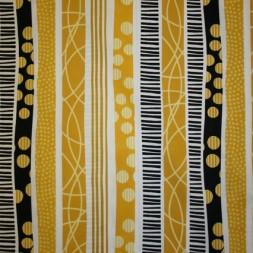 Afklip Patchwork stof i gul, carry og sort med striber, 50x55 cm.-20