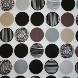 Patchwork stof i hvid, sort og sand med cirkler-20