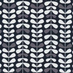 Patchwork stof med bladranker i sort, grå og hvid-20
