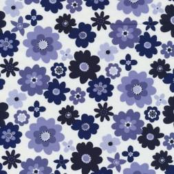 Patchwork stof blomstret i hvid, denim og mørkeblå-20