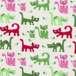 Patchwork stof med katte i hvid, grøn og lyserød-20